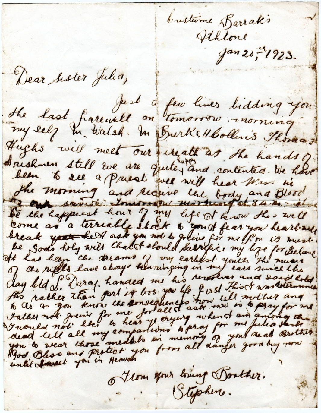Stephen Joyce execution letter