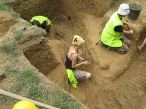 Excavations in progress in communications trench